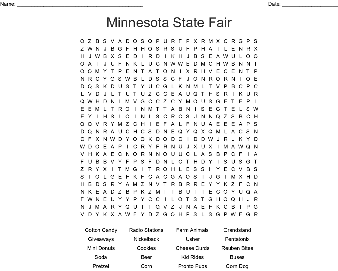 Minnesota State Fair Word Search - WordMint