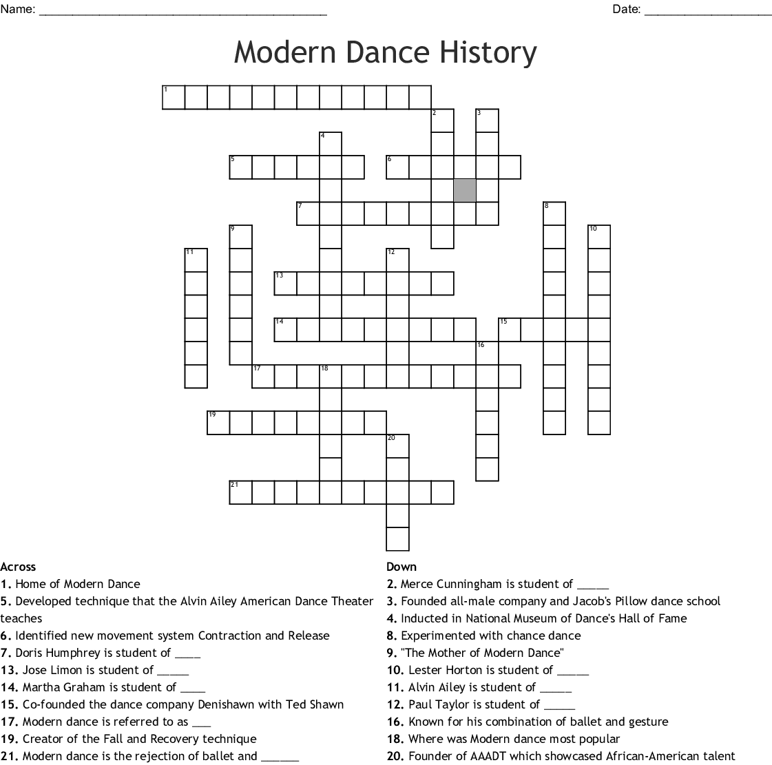 graphic about Black History Crossword Puzzle Printable identify Innovative Dance Historical past Crossword - WordMint