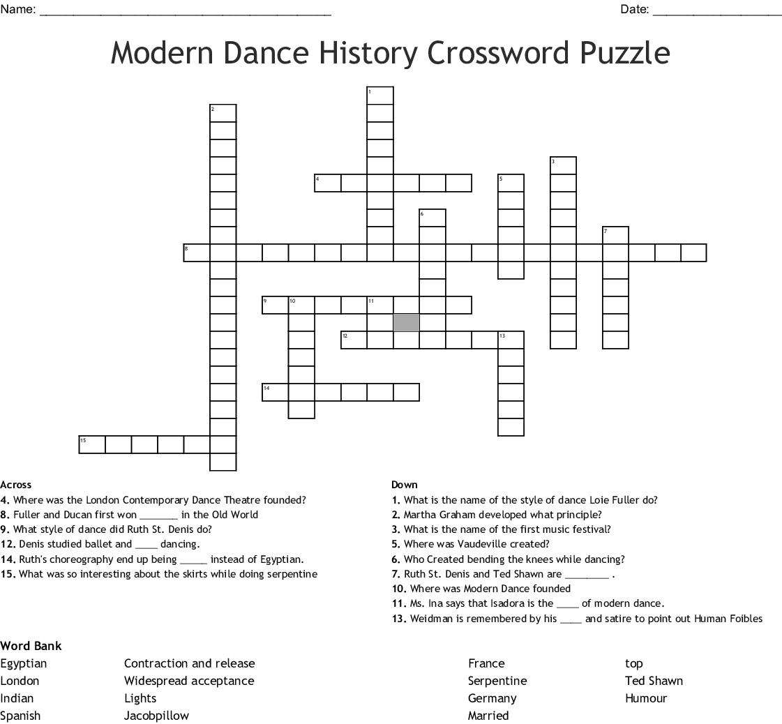 Modern Dance History Crossword Puzzle Wordmint