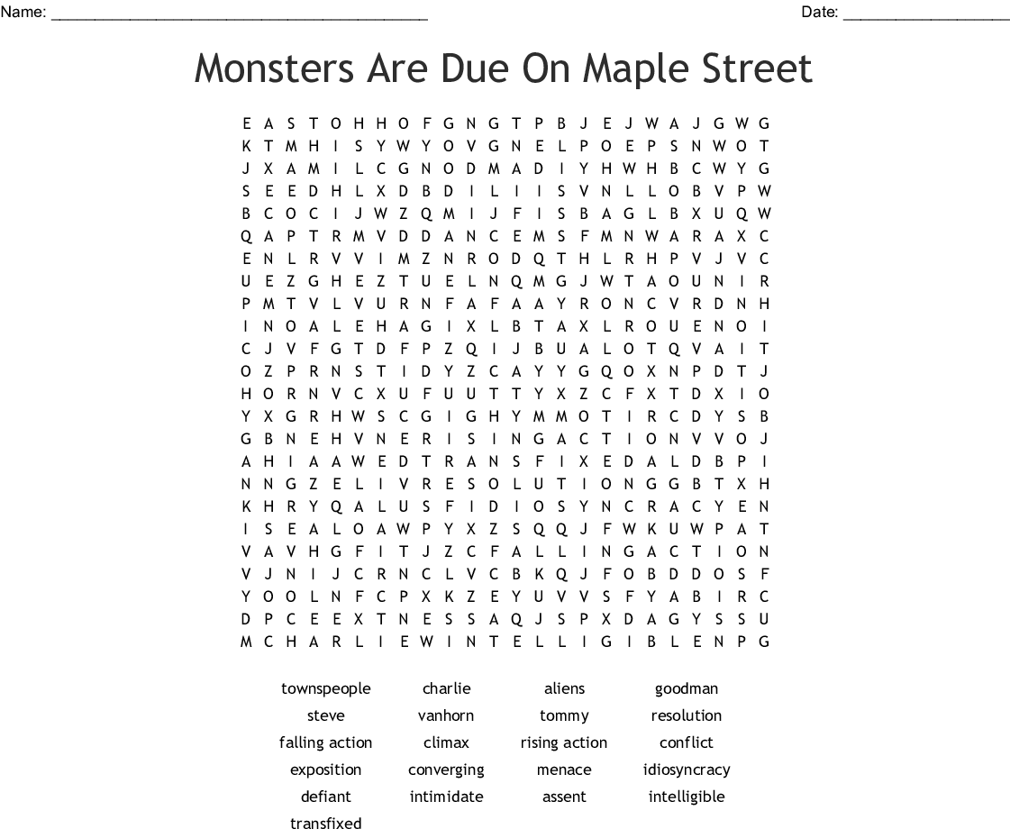 Monsters Are Due On Maple Street Crossword Wordmint