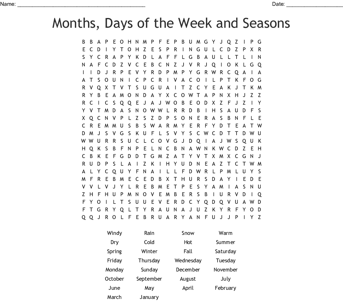 Months, Days of the Week and Seasons Word Search - WordMint