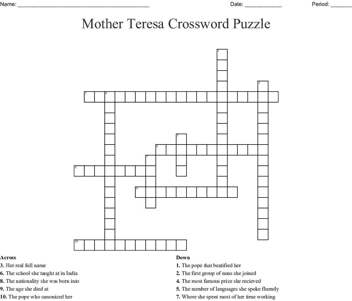 Mother Teresa Crossword Puzzle - WordMint