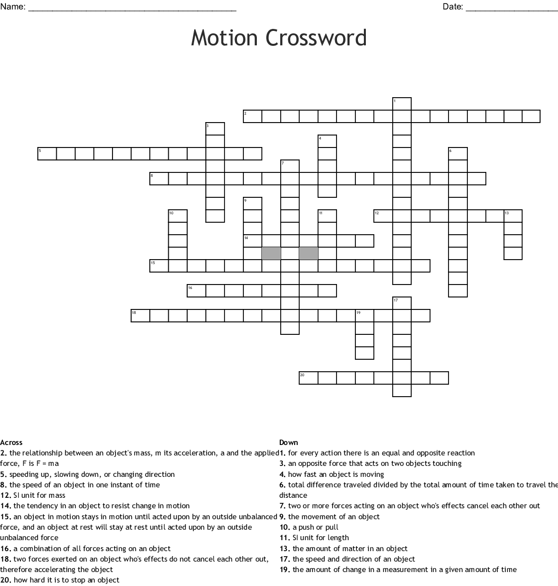 Force, Motion, and Newton's Laws Crossword Puzzle - WordMint