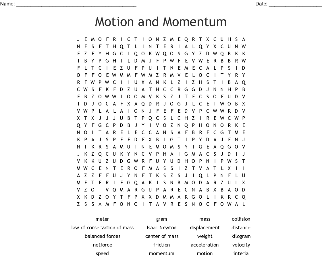 Motion and Momentum Word Search - WordMint
