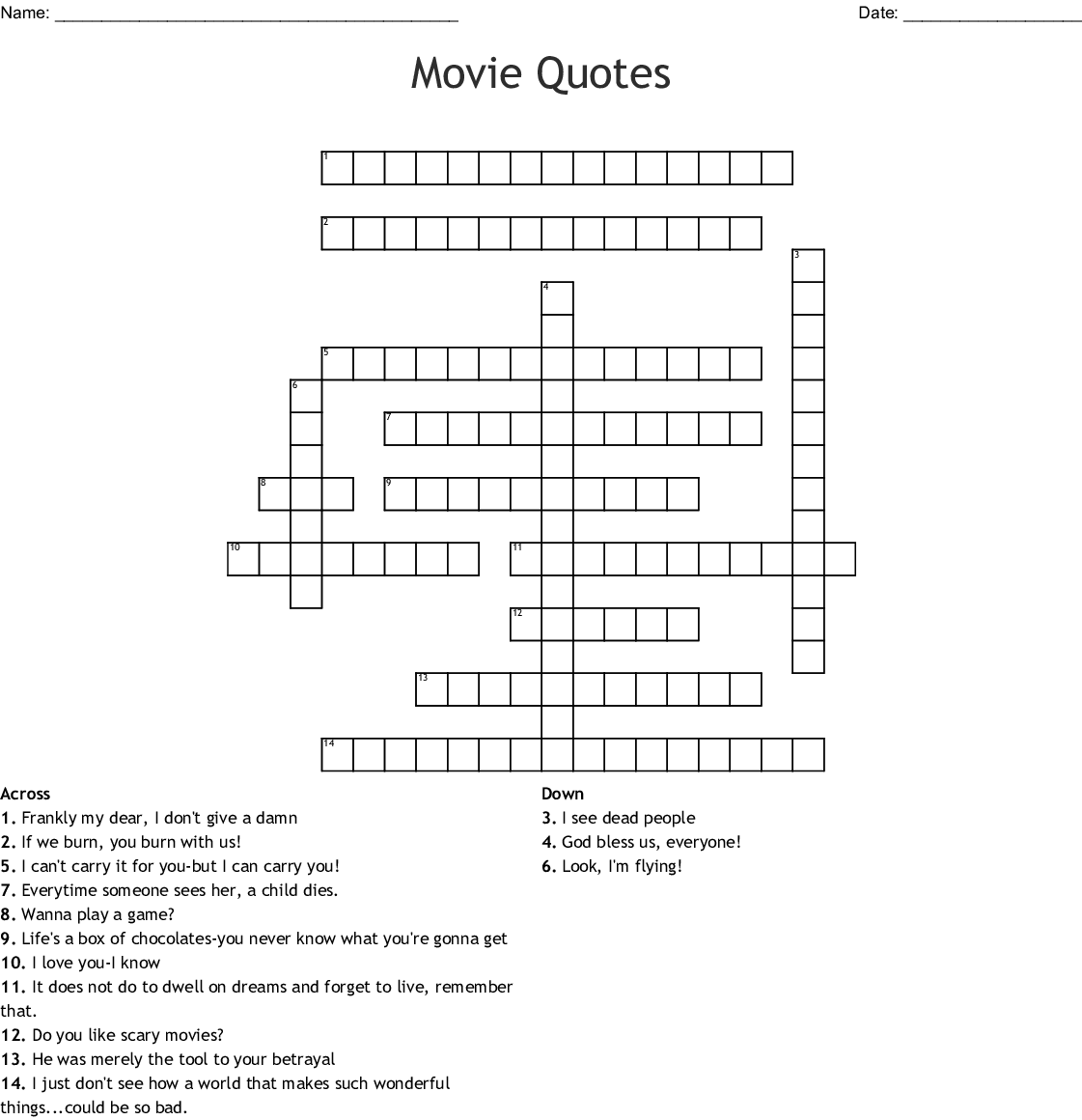 Movie Quotes Crossword Wordmint