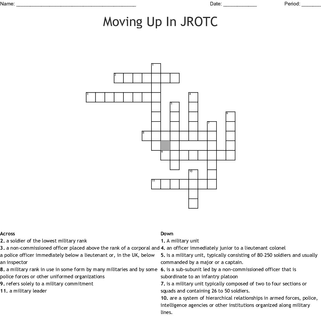 Moving Up In Jrotc Crossword Wordmint