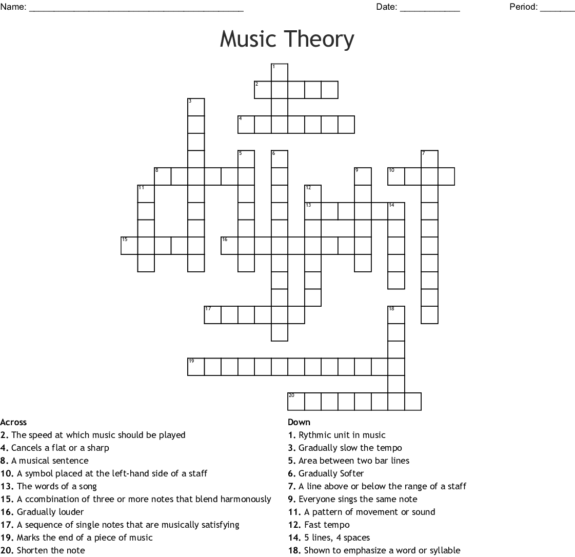 Music Theory Vocal Production Crossword Wordmint