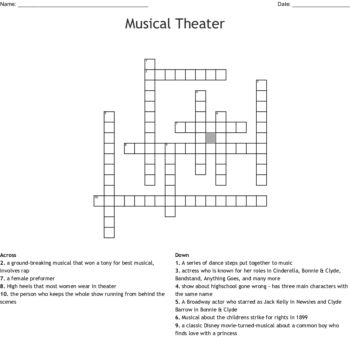 Musical Theater Crossword Wordmint