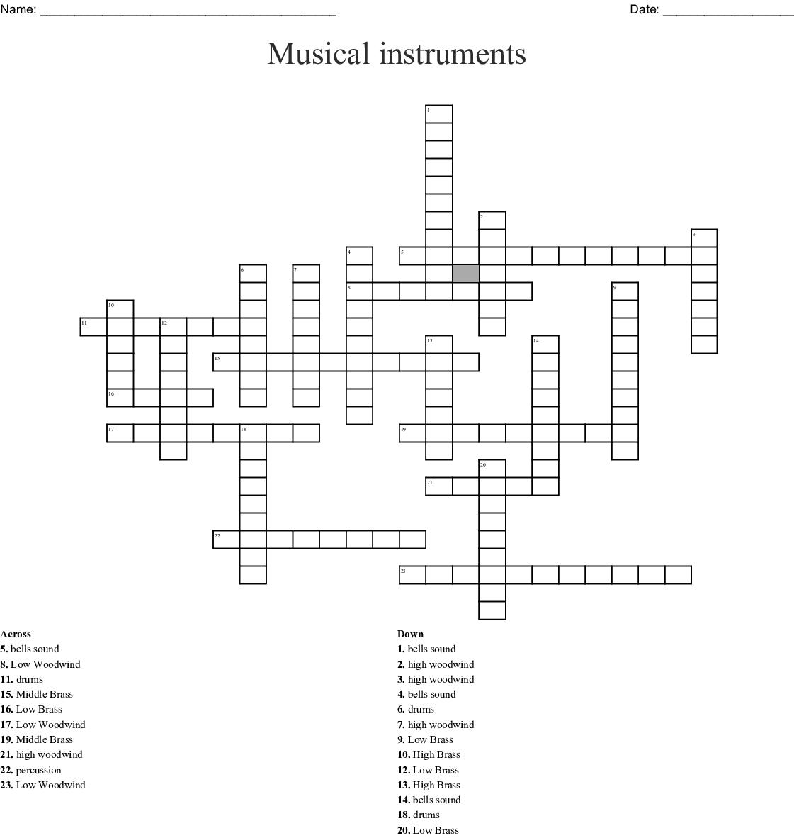 Musical instruments Crossword - WordMint