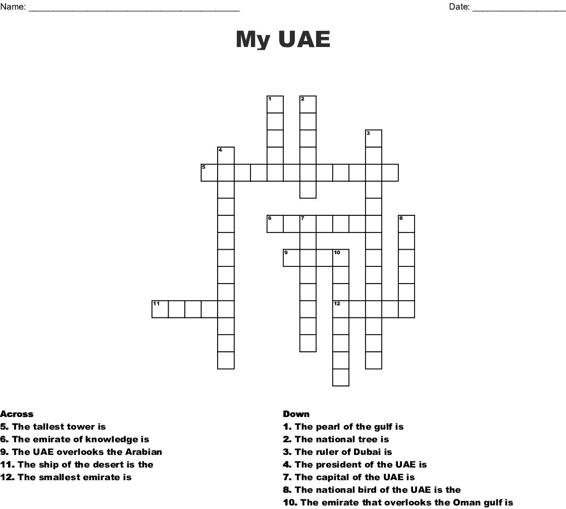 Uae Crossword Wordmint