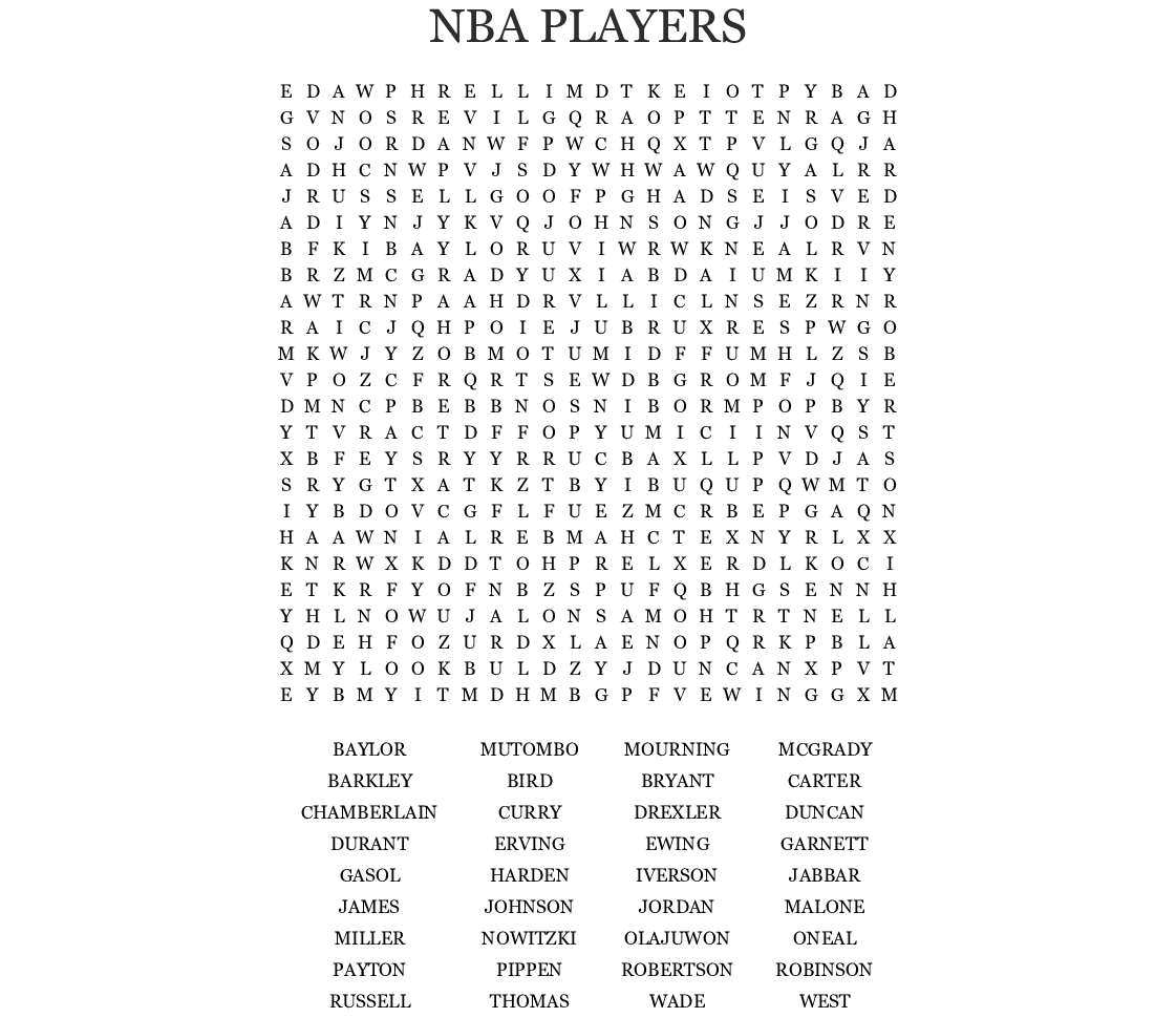 Nba players Word Search - WordMint