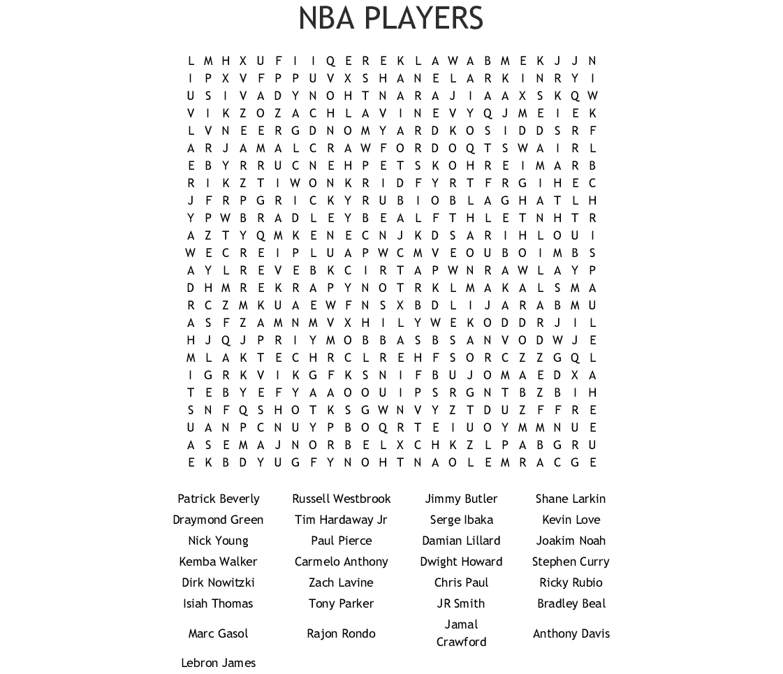 basketball players Word Search - WordMint