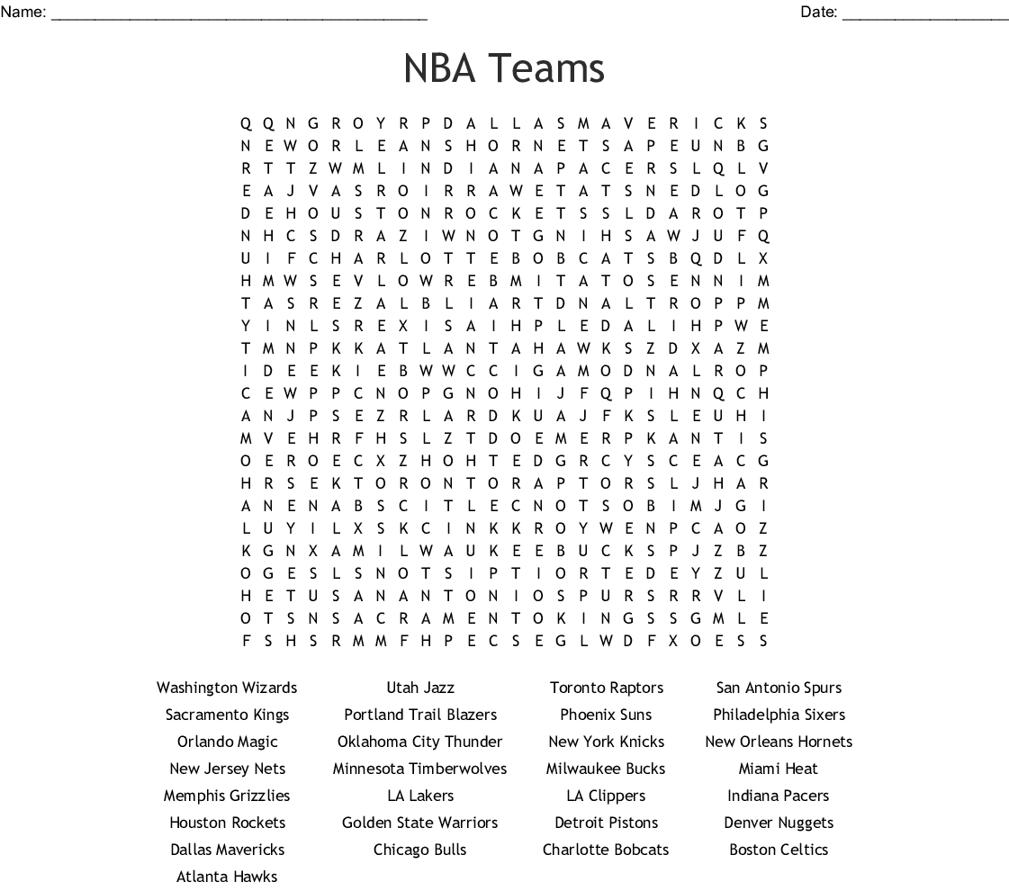 NBA Teams Word Search - WordMint