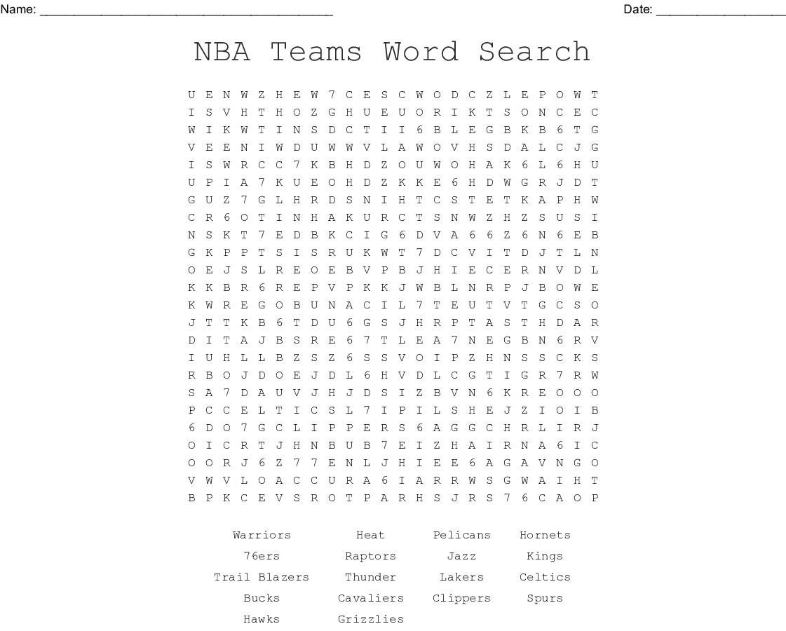 NBA Basketball Teams Word Search - WordMint