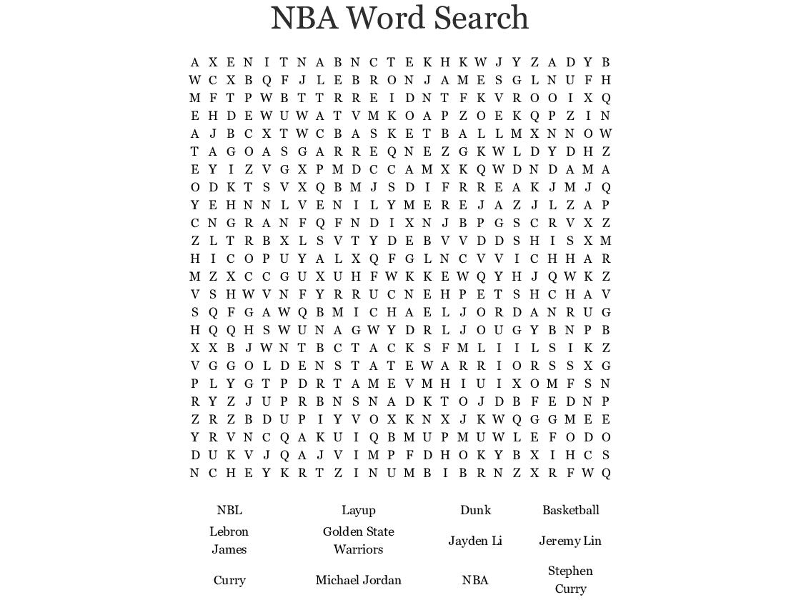 NBA Word Search - WordMint