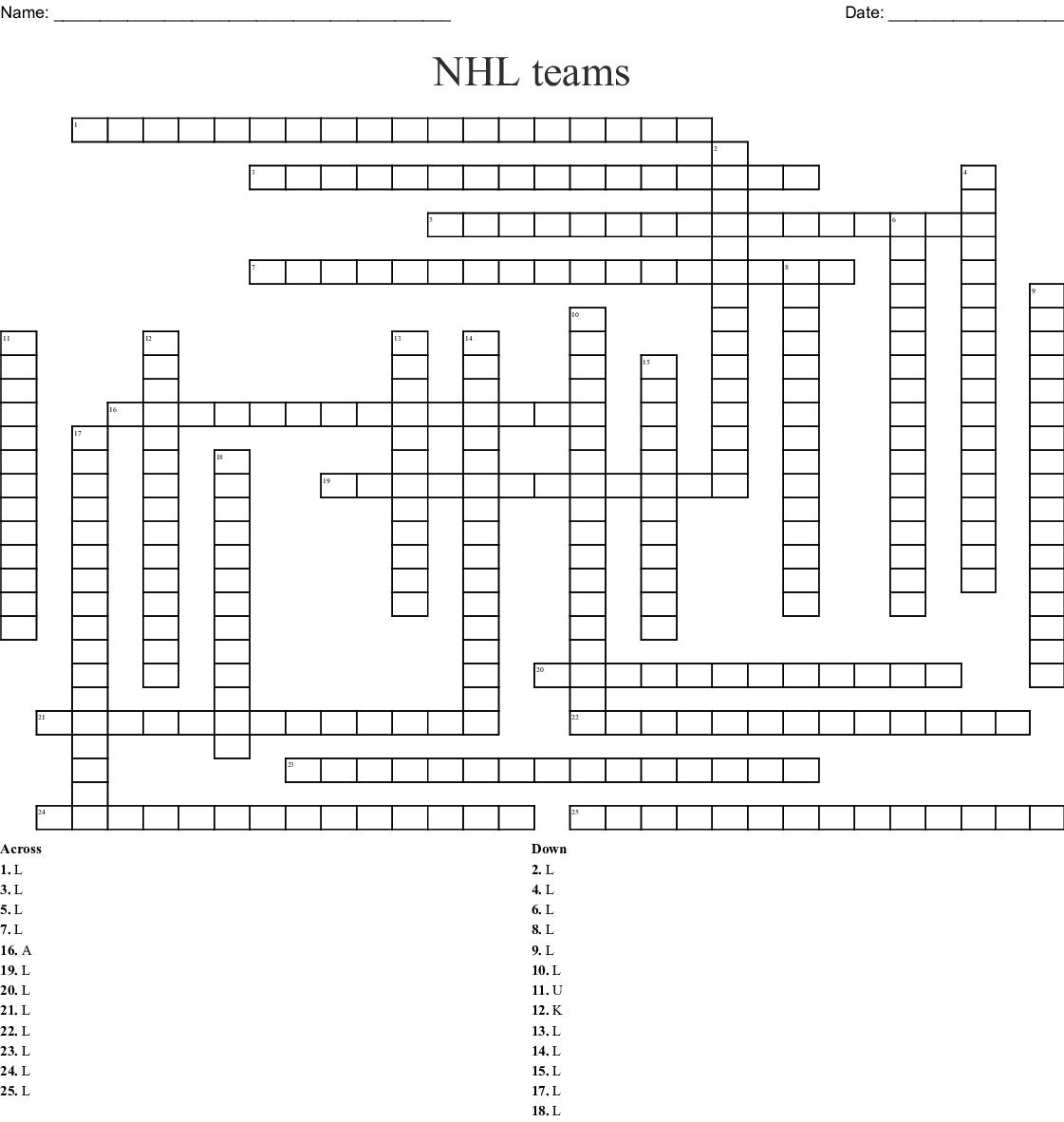 Nhl Teams Word Search Wordmint