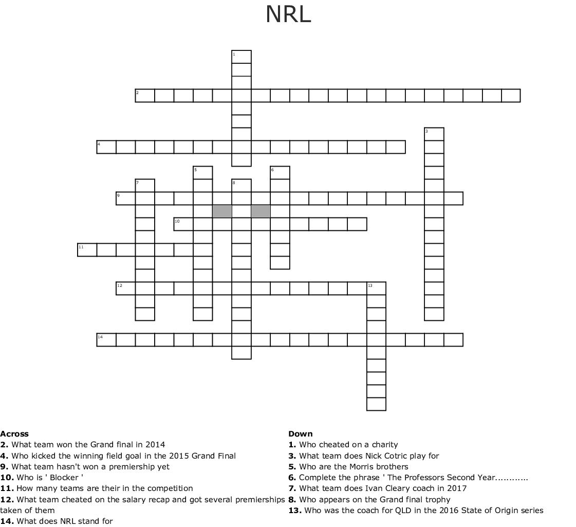 NRL crossword - WordMint