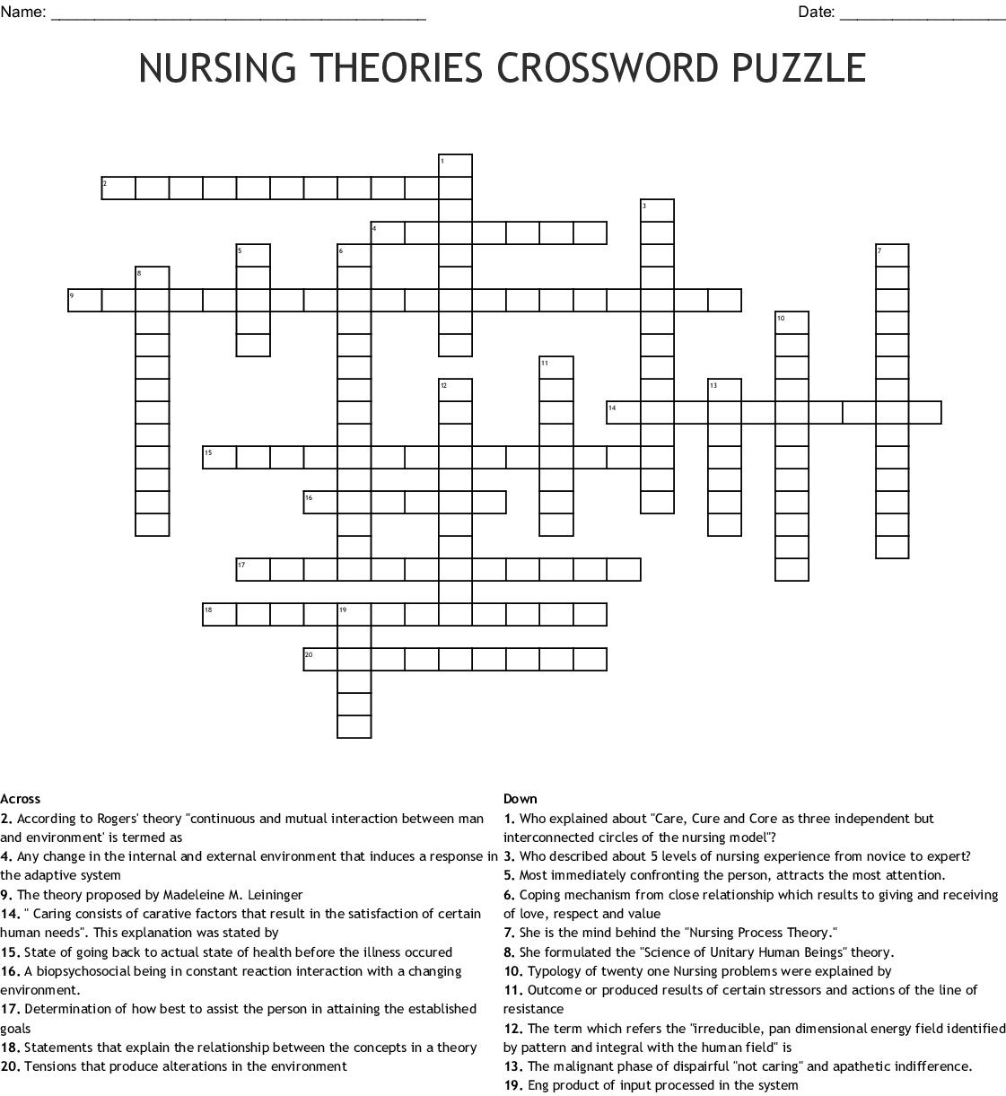 Nursing Theories Crossword Puzzle Wordmint