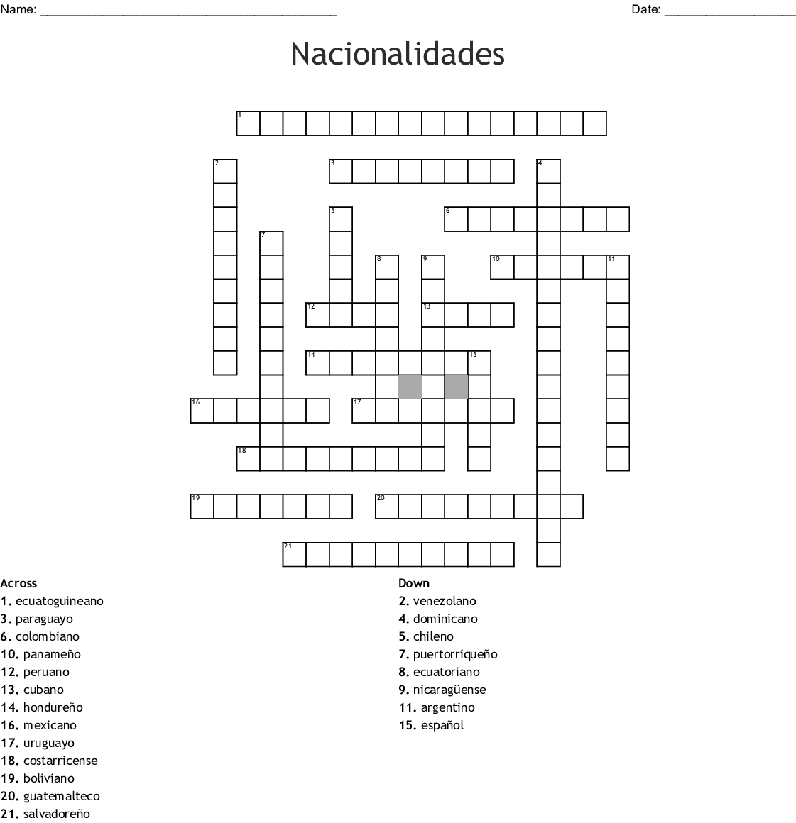 Las Nacionalidades Crossword Wordmint