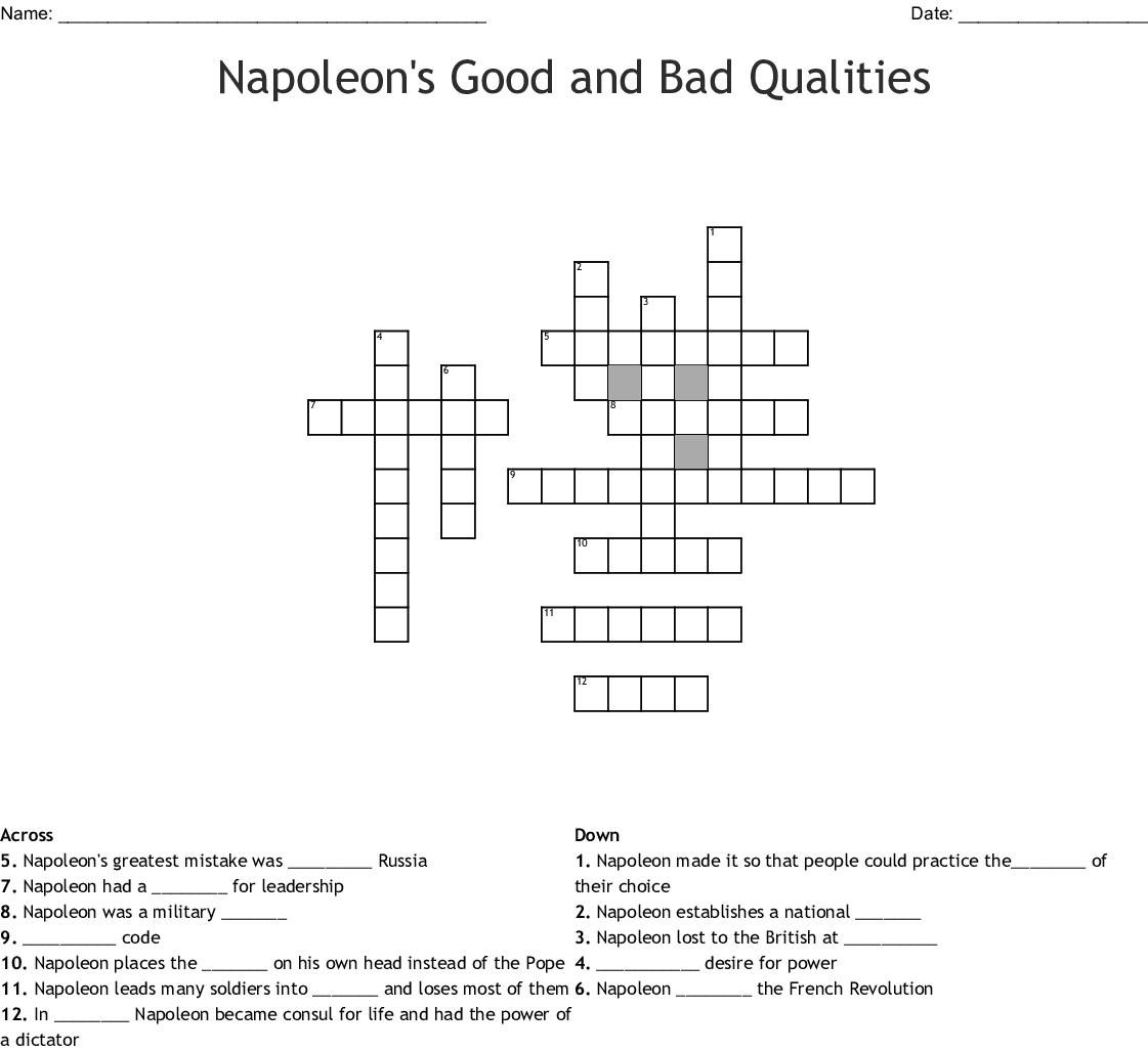 Napoleon's Good and Bad Qualities Crossword - WordMint