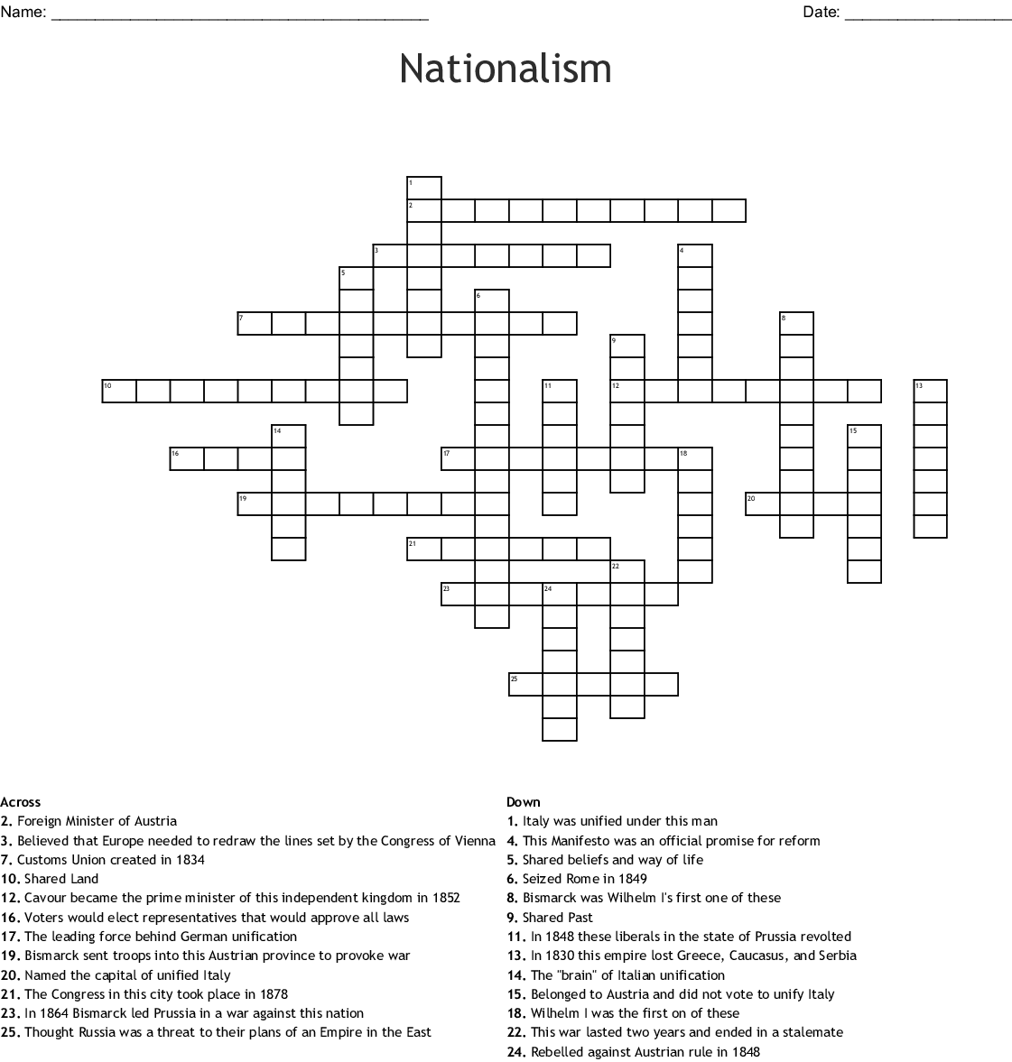 Nationalism Crossword Wordmint