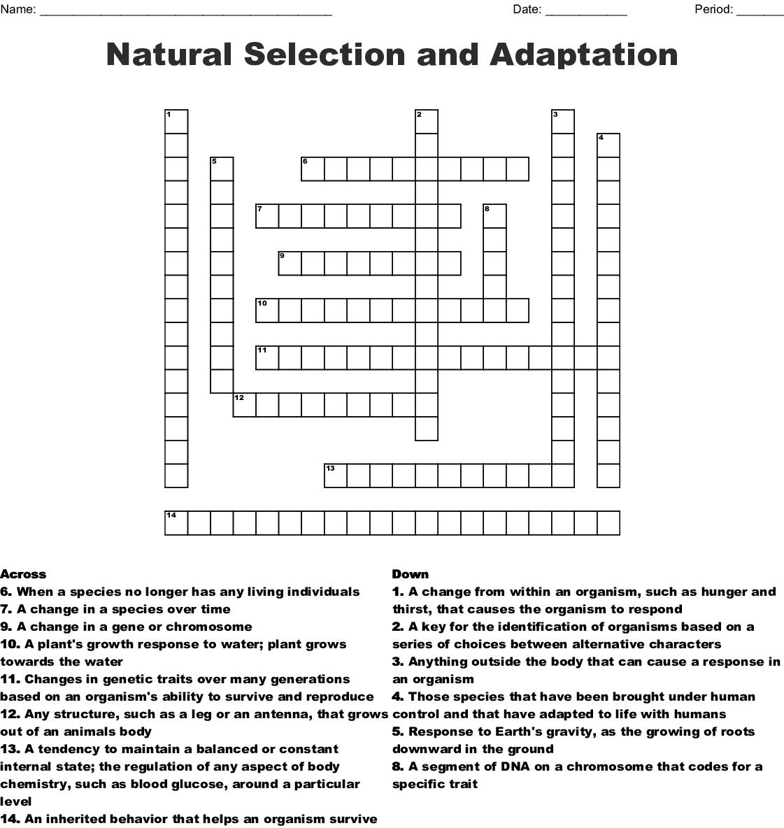 Evolution and Inheritance 1 Crossword - WordMint