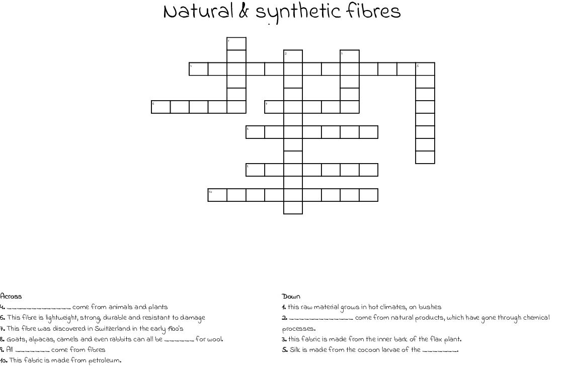 Fibres To Fabrics Crossword Wordmint