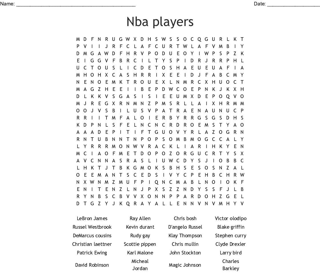NBA Players Word Search - WordMint
