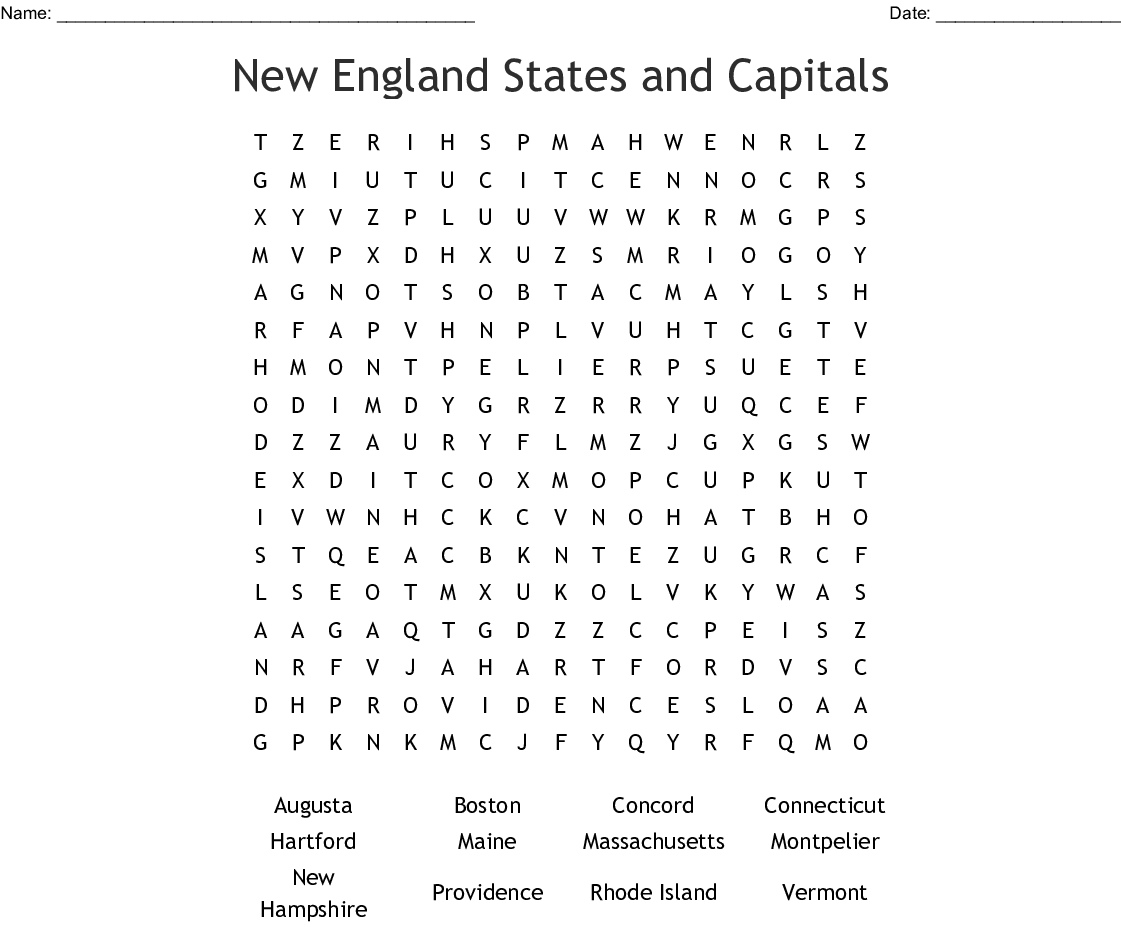 New England States and Capitals Word Search - WordMint on