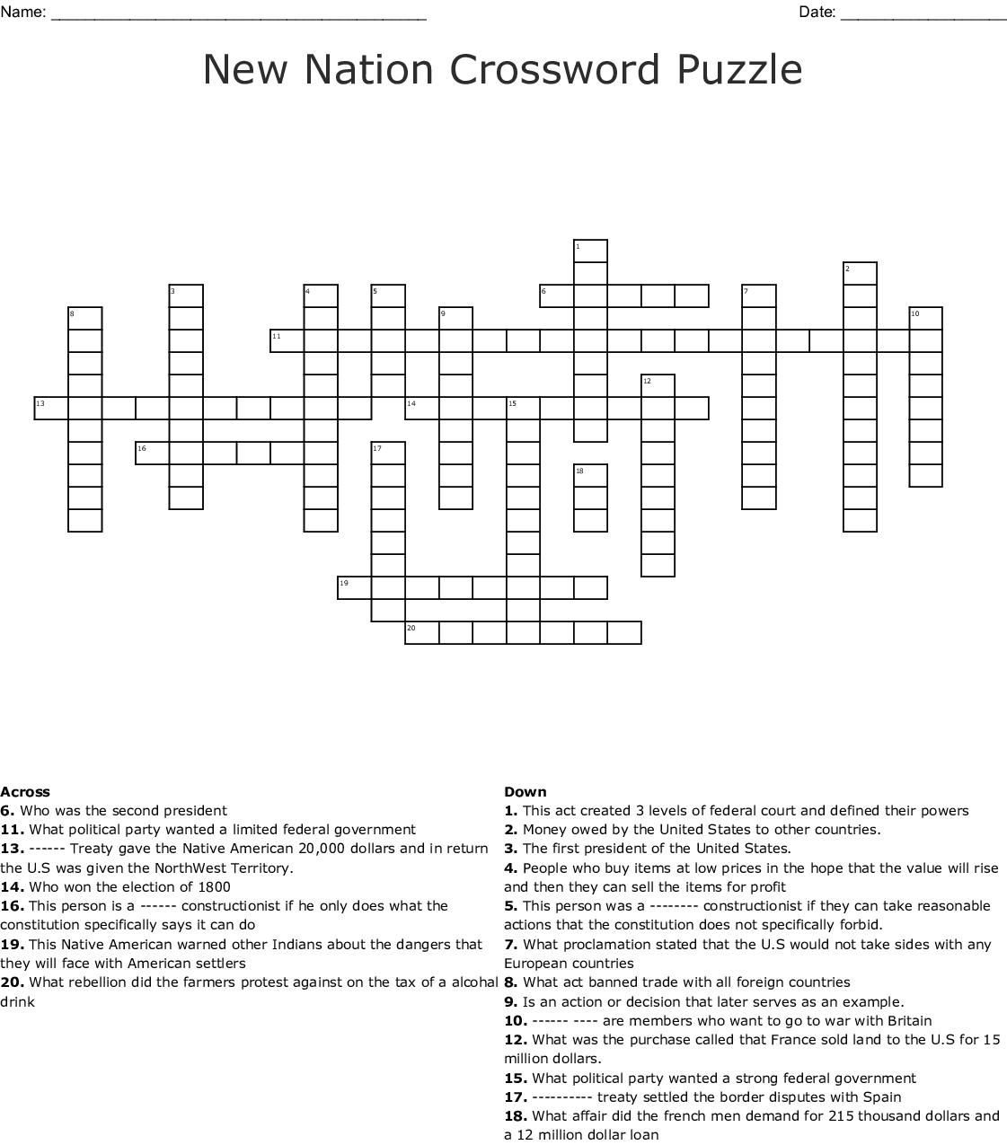 Indian Removal Vocab Crossword - WordMint