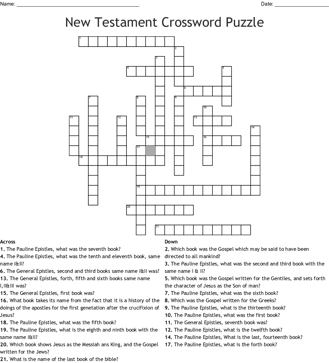 New Testament Books And Quick Facts Crossword Wordmint
