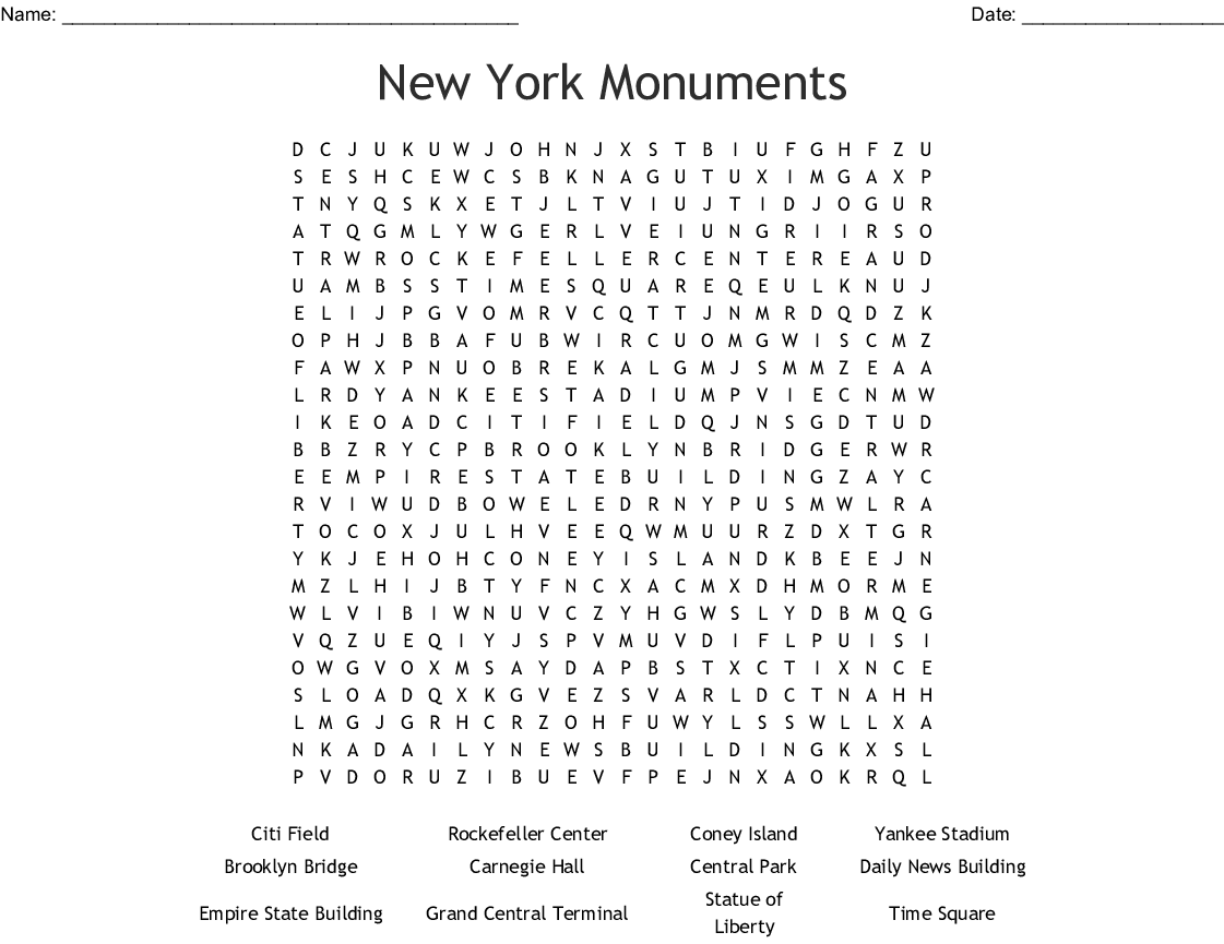 Statue of Liberty Word Search - WordMint