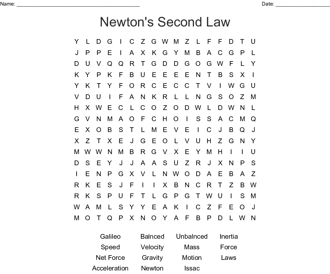 Newton's Second Law Word Search - WordMint