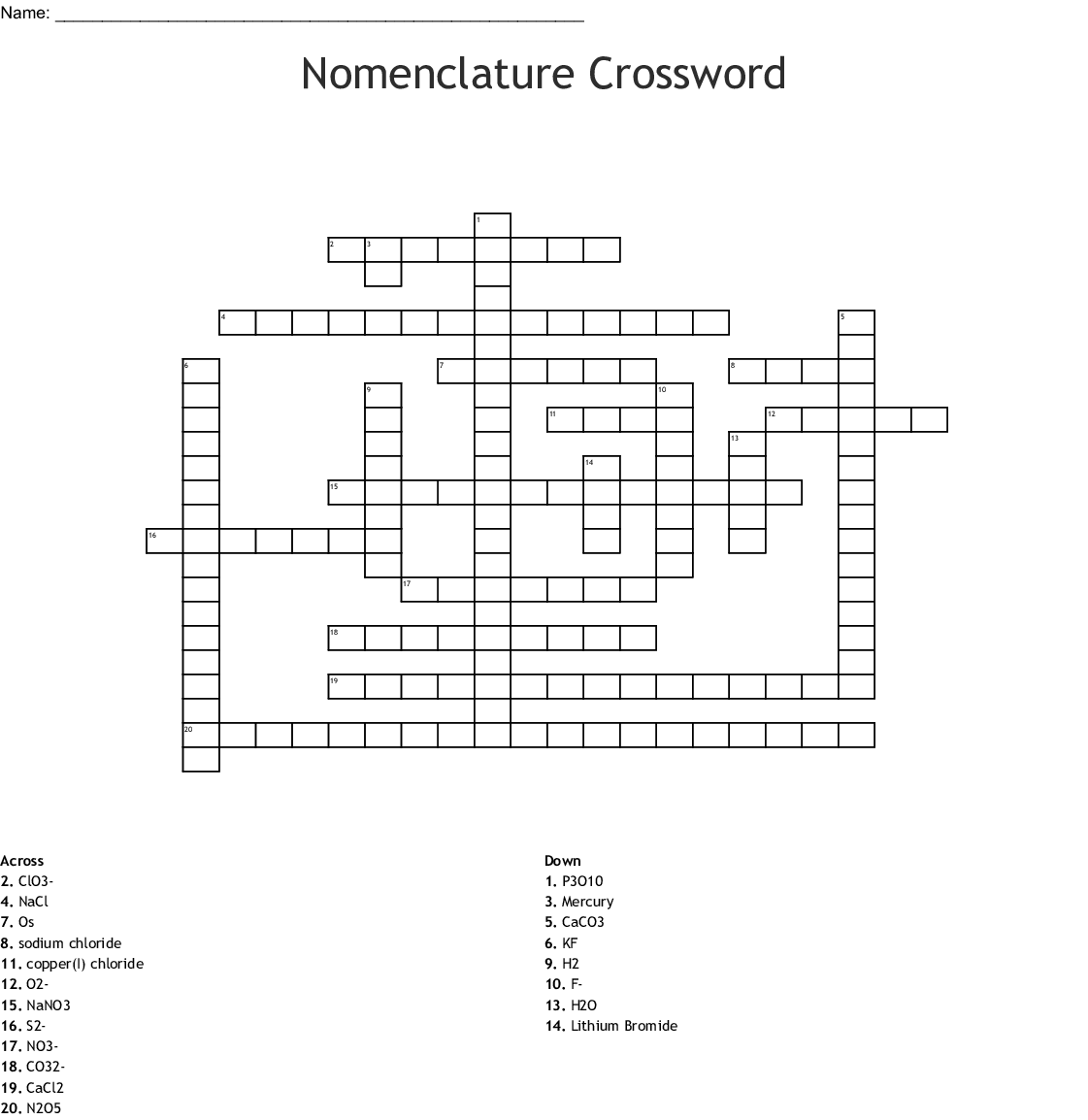 Nomenclature Crossword - WordMint