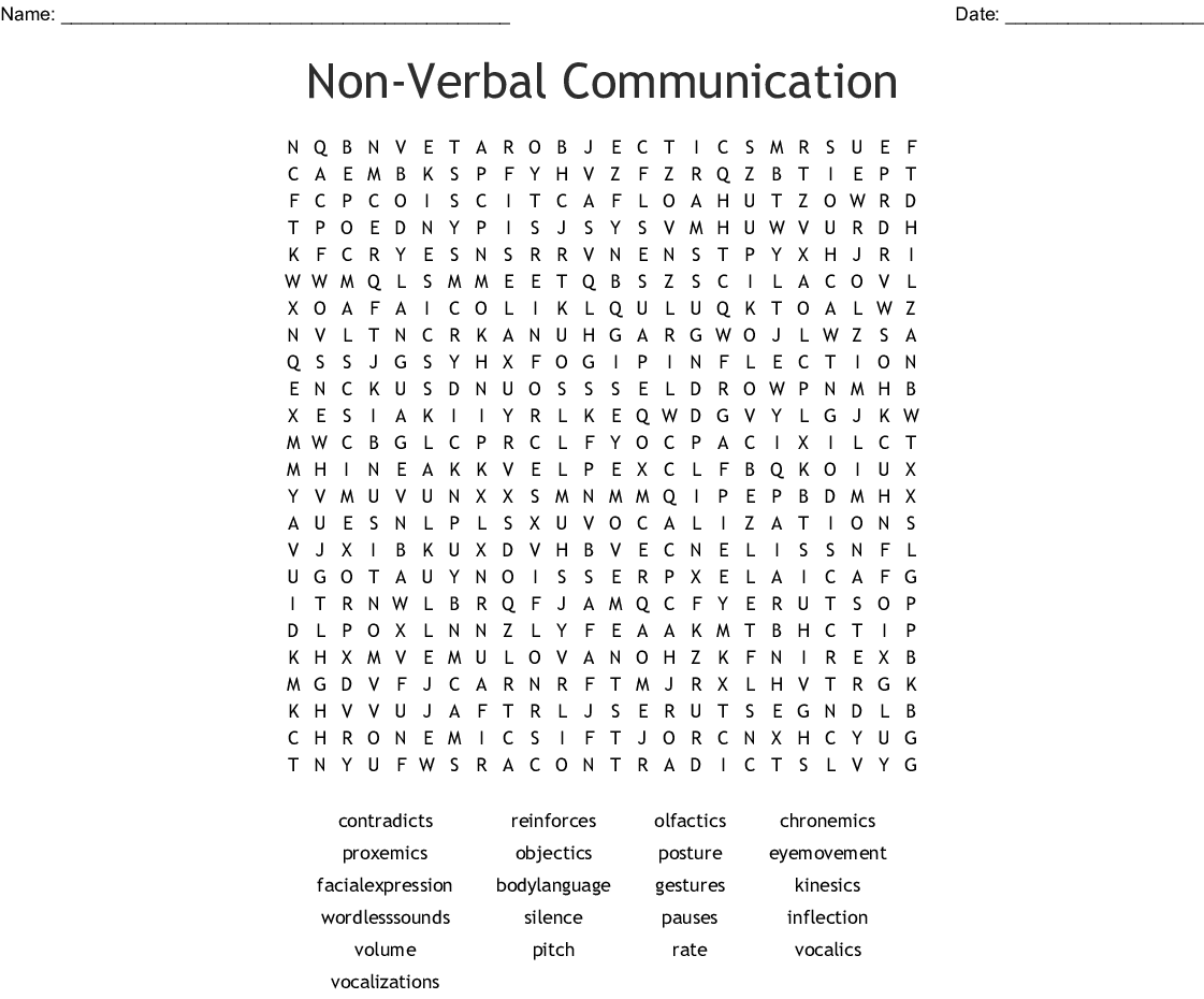 Non Verbal Communication Word Search Wordmint Both concepts are pertinent to chronemics. non verbal communication word search