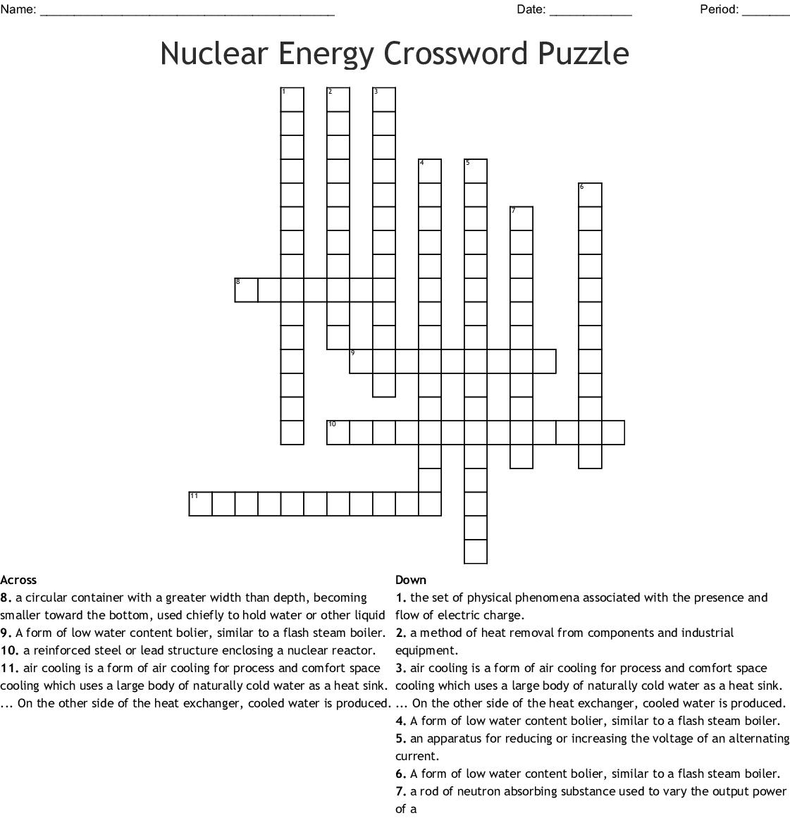 Nuclear Energy Crossword Puzzle - WordMint