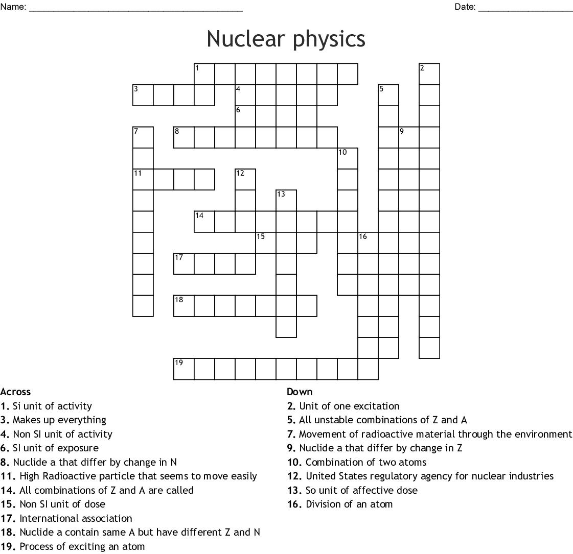 Nuclear Physics Crossword Wordmint
