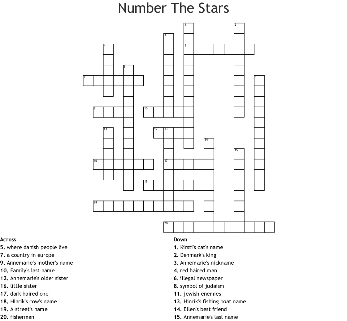 Number the Stars Crossword - WordMint