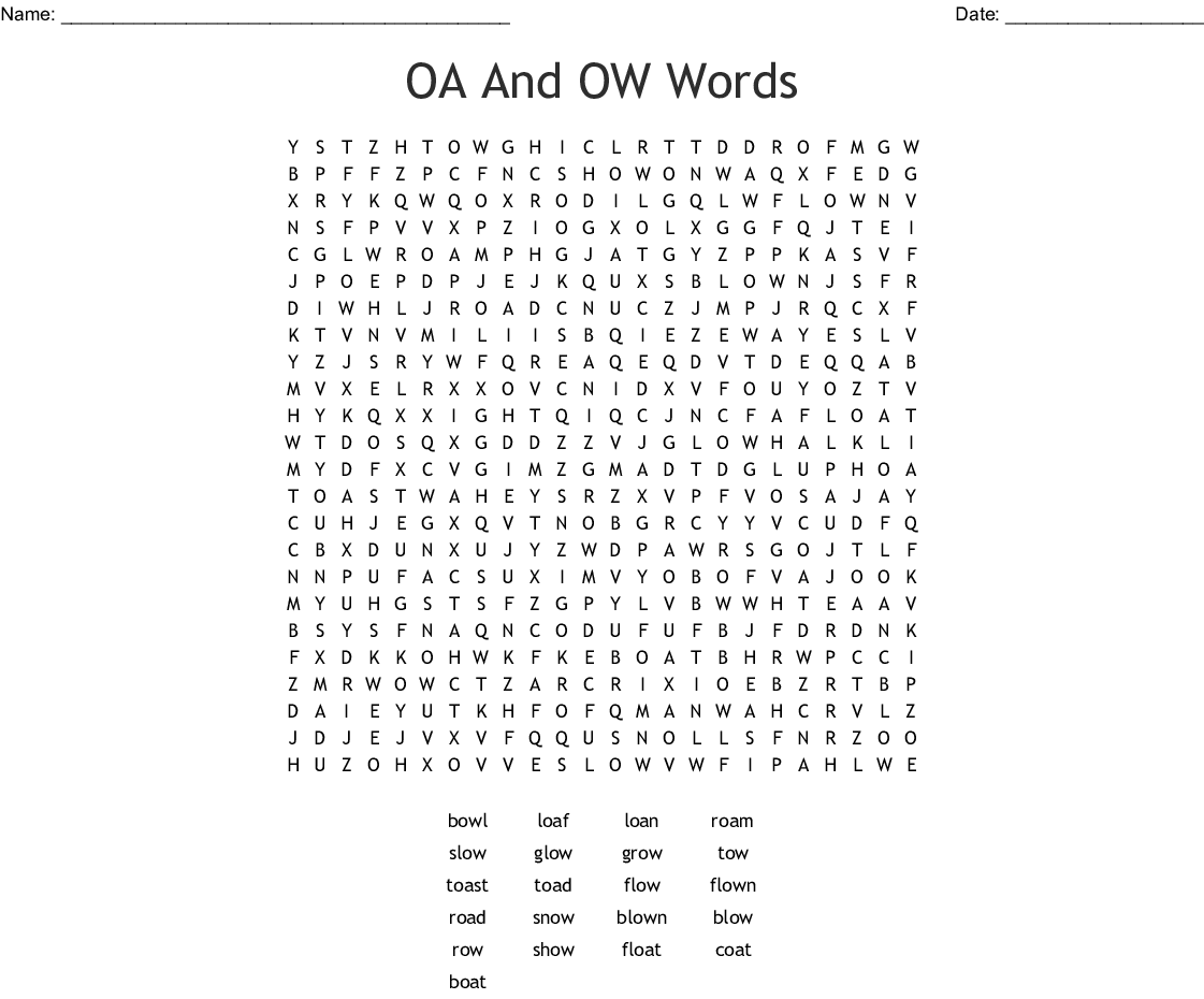 Words with the long o: 'oa' 'ow' Word Search - WordMint