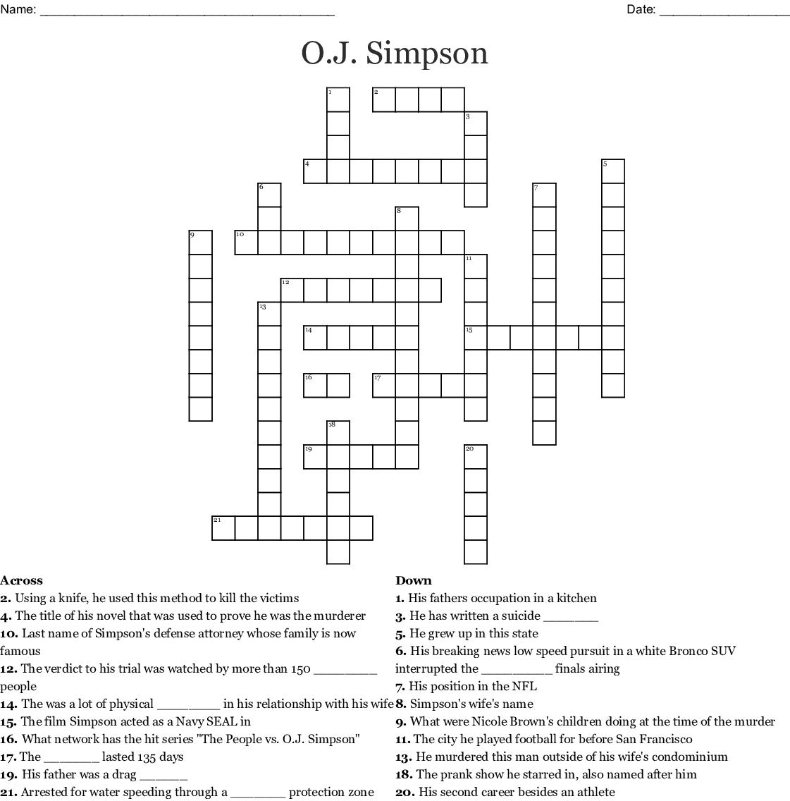 O J Simpson Crossword Wordmint