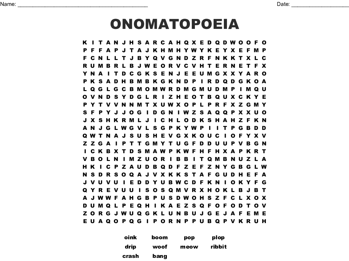 ONOMATOPOEIA Word Search - WordMint