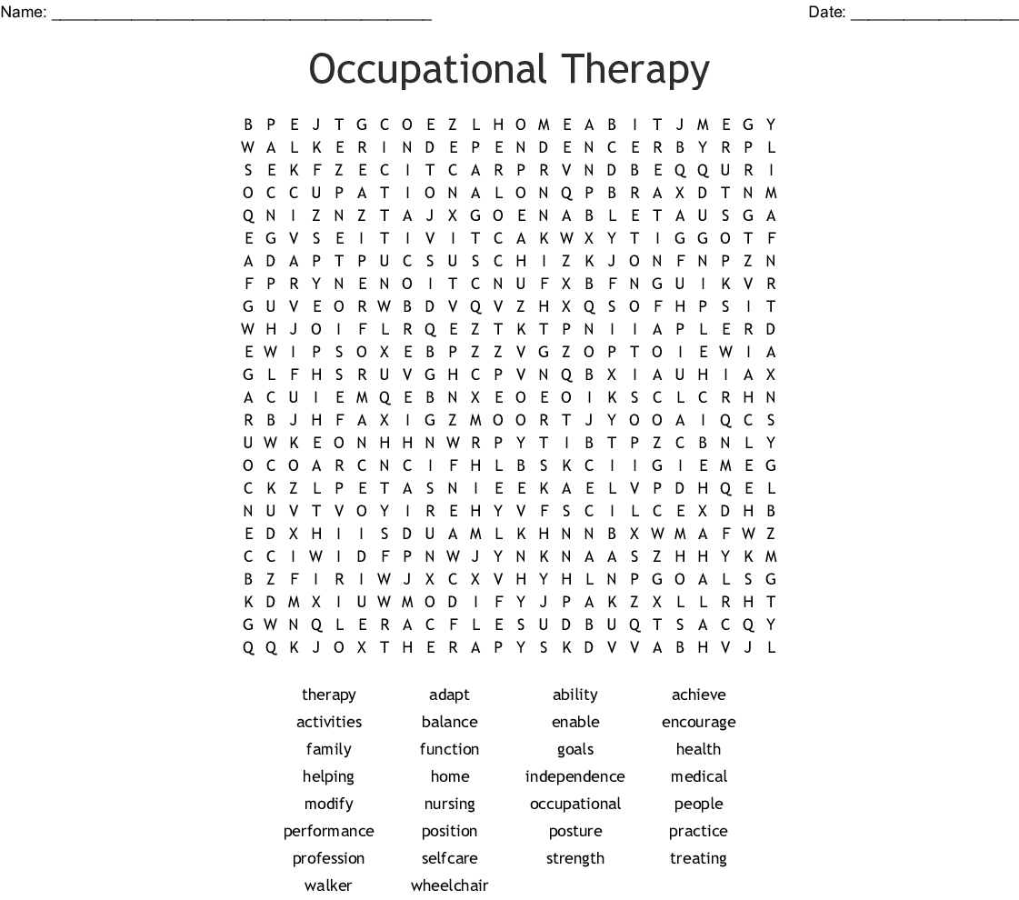 Occupational Therapy Word Search - WordMint