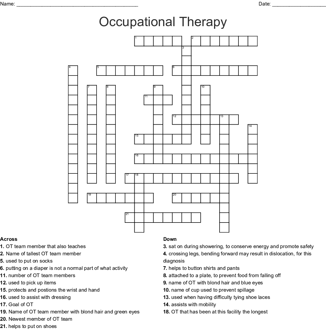 Occupational Therapy Crossword Wordmint