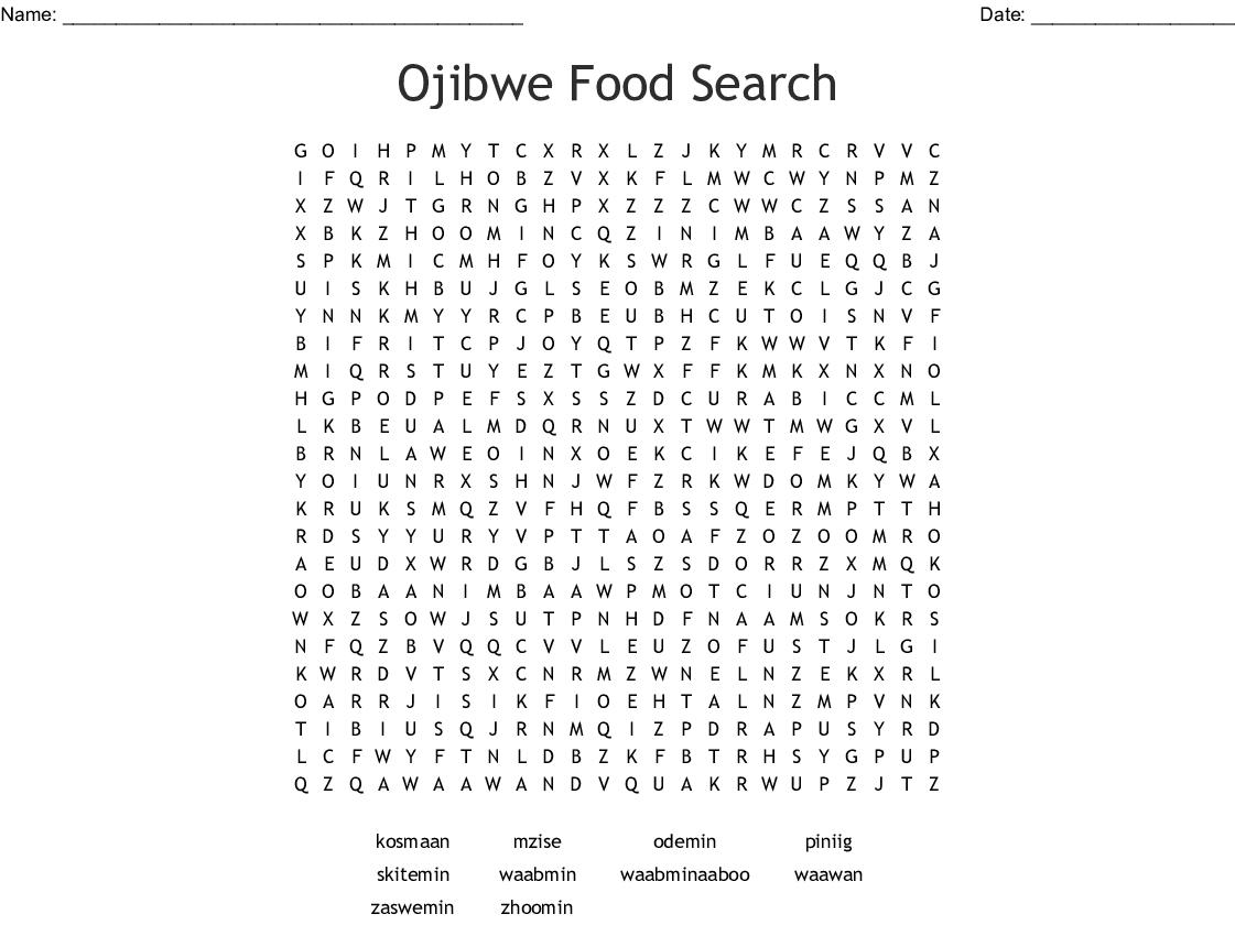 Ojibwe Word Search - WordMint