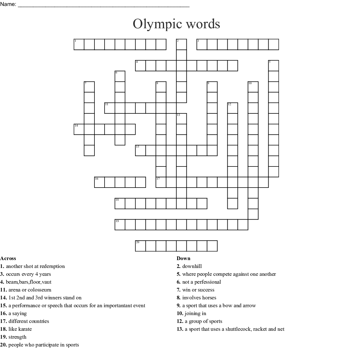 Sports Crossword - WordMint