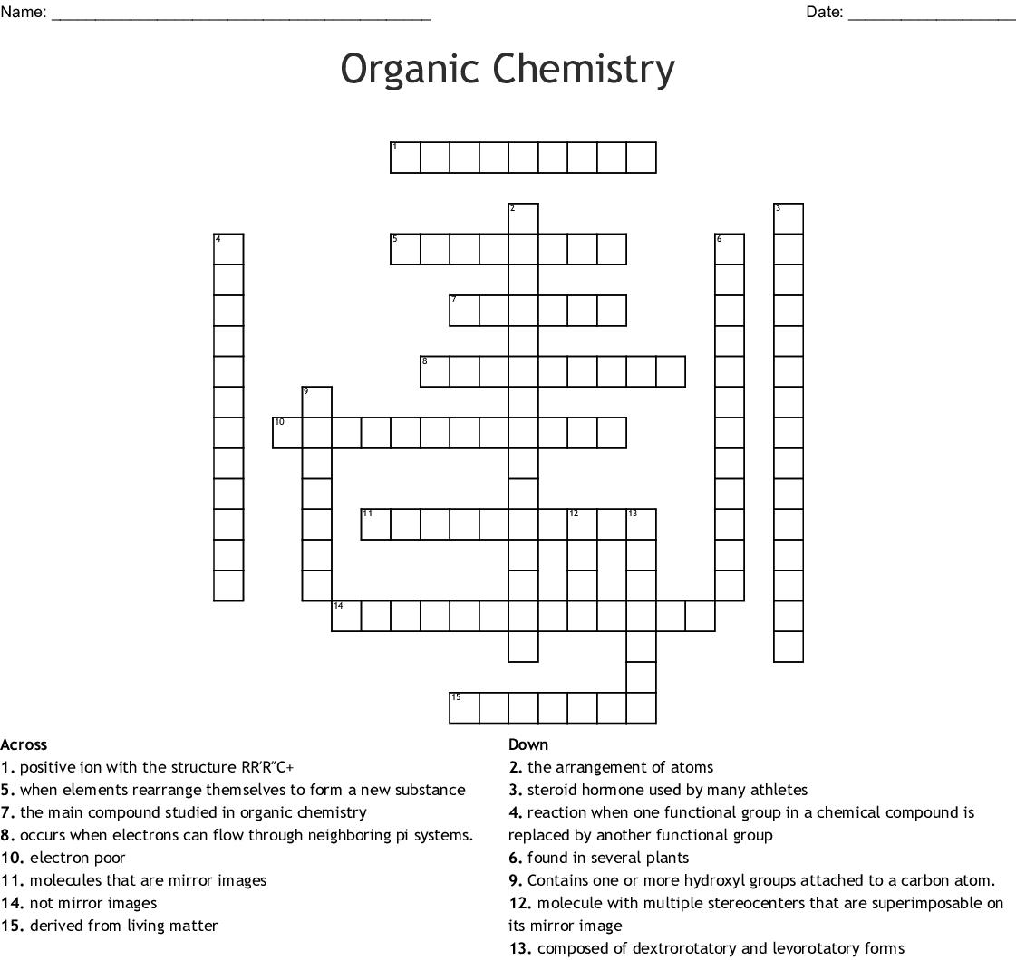 Organic Chemistry Crossword - WordMint