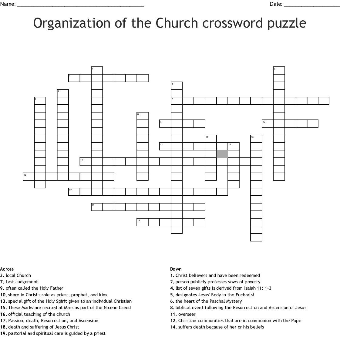 Section 1 The Church Crossword Wordmint