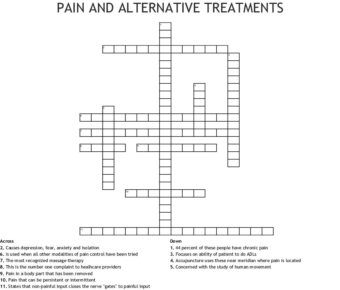 Pain And Alternative Treatments Crossword Wordmint