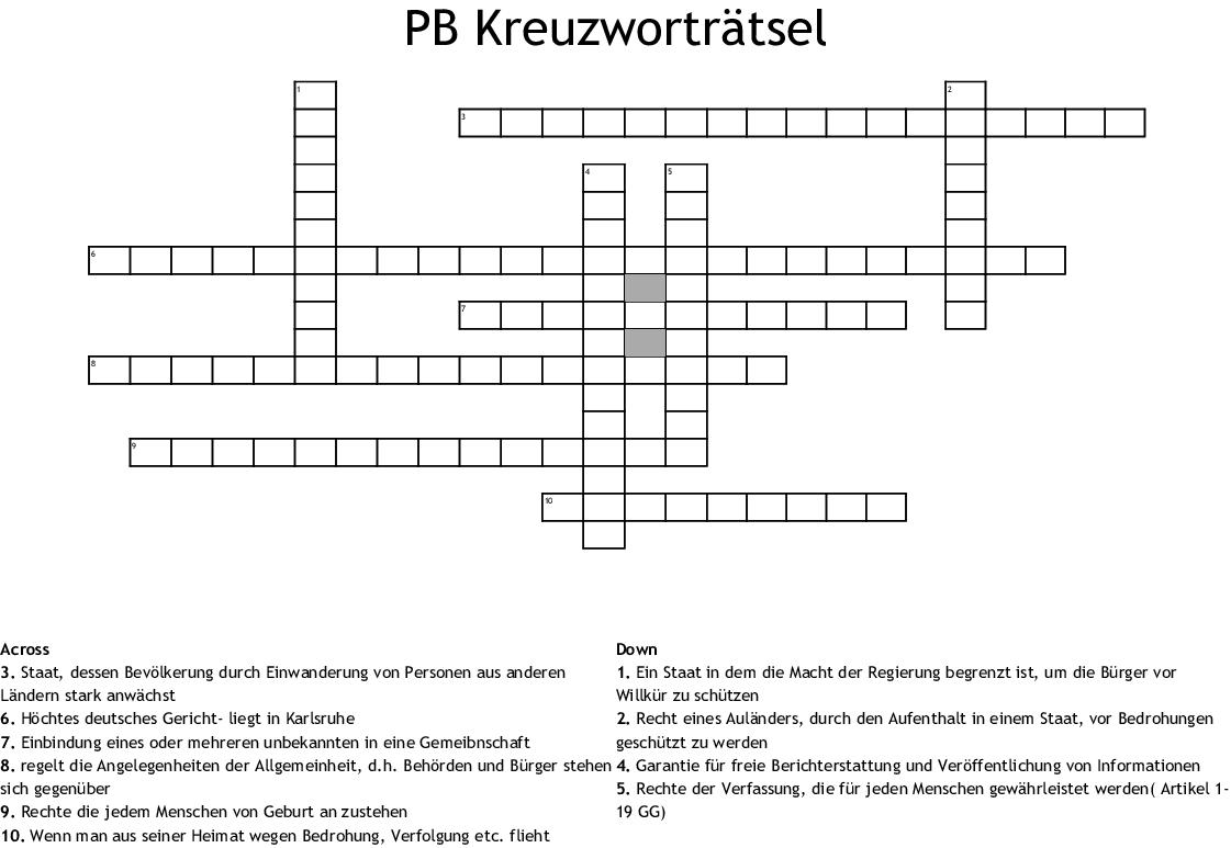 Veröffentlichung Kreuzworträtsel