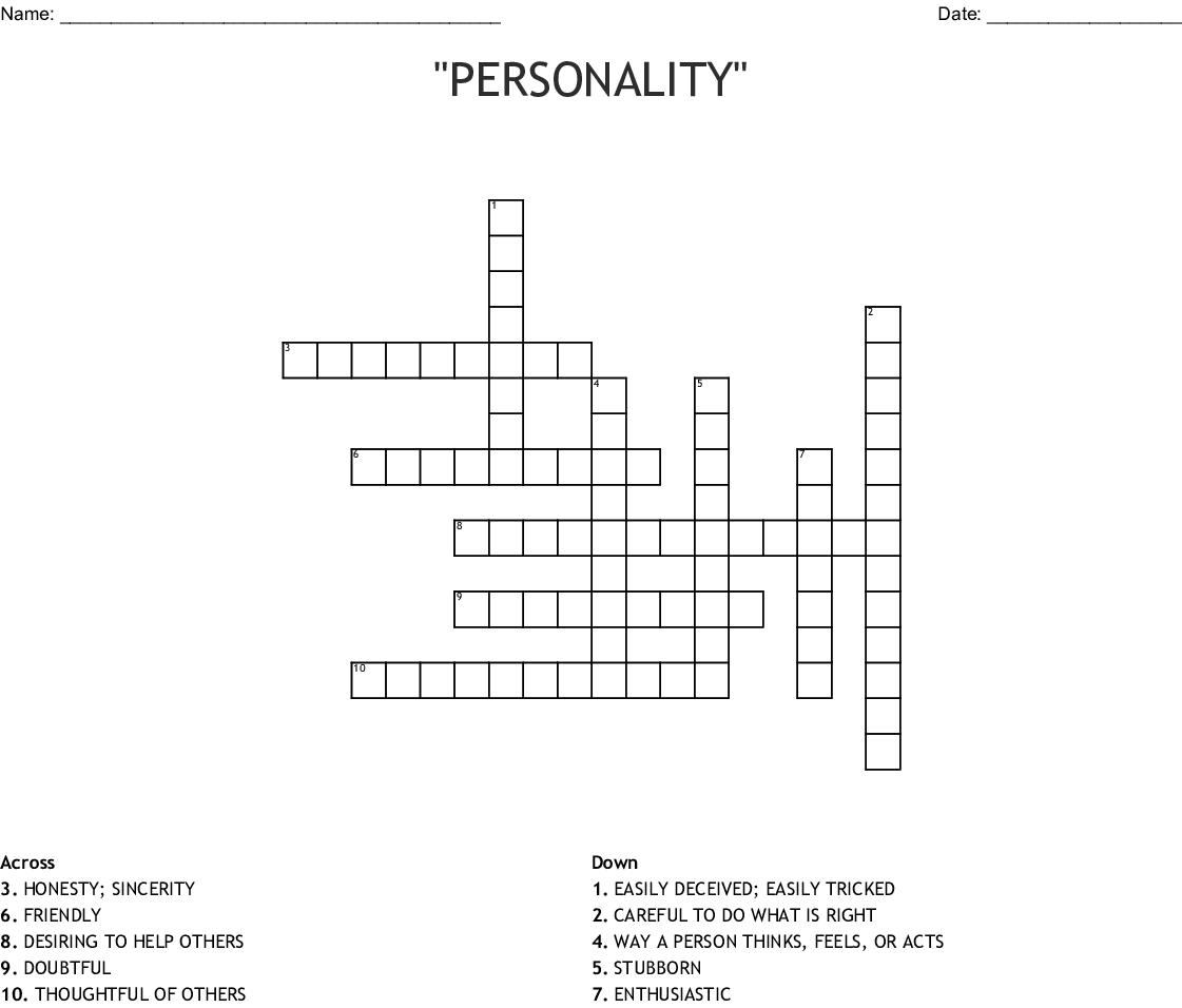 Personality Crossword Wordmint